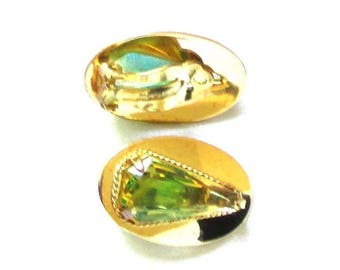 25% Off Vintage Whiting and Davis Peridot Art Glass, Faux Tourmaline Clip Earrings
