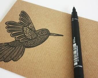 Set of 6 A6 Envelopes, Hummingbird, Original Hand Printed Envelopes, Handcarved Stamp, Brown Kraft Card, Free Postage in UK,