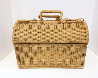 Vintage Basket Picnic Sewing with Handles Light Brown, Task Basket, Storage Basket