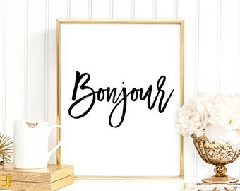 SALE -50% Bonjour Digital Print Instant Art INSTANT DOWNLOAD Printable Wall Decor
