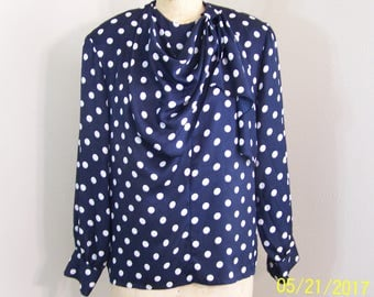 1980s vintage blue with white polka dot blouse made by La Chine Classic for Galinda Wang, size 12