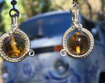 Chiapas Amber & Sterling Silver Filled Wire Wrap Earrings Surgical Steel Hooks