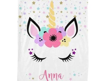 Personalized Unicorn Blanket, Furry Fleece Throw, Unicorn Decor, Monogram Baby Blanket, Personalized gift for kids