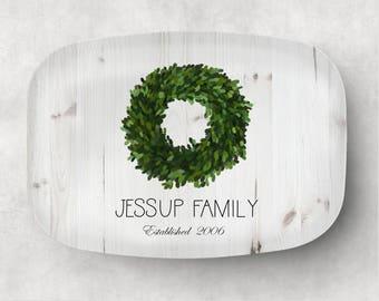 Personalized Family Platter  Serving Tray  Magnolia Wreath Platter  Hostess Gift  Kitchen Decor  Monogram Platter - Gift for Mom