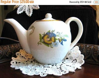ON SALE Teapot, Vintage Tea Pot, China with Pansies,  Hukom, Vintage Tea, Japanese Pottery 1817