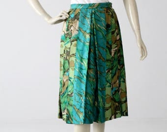 1960s Eddy George silk skirt, vintage watercolor print pleated a-line skirt