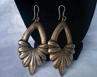 Sterling Silver Mexico Earrings, Mexico Sterling Earrings, Mexico Silver Earrings, Large Sterling SIlver Dangle Earrings