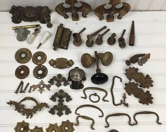 Huge Lot of Vintage Hardware - Vintage Drawer Pulls - Knobs - Wheels - Finials - Restoration Hardware
