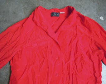 Vtg Classic Red Silk Simple Back Blouse Size Small to Medium 80's 90's