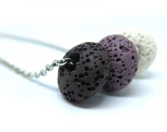 Trio - Genuine Lava Beaded Silver Necklace