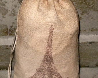 March Sale TEA Stained Muslin Bags 100% Cotton Color Pouches with Eiffel Tower Image ECS