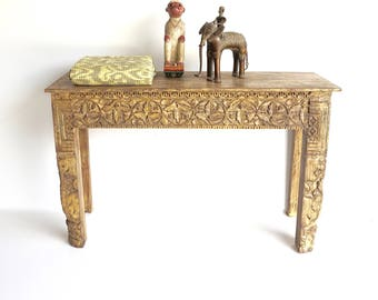 Hall Table Painted Side Table Yellow Handcarved Teak