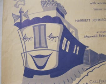 Lucy, The Blue Caboose Sheet Music Piano Solo With Words Used and Age Worn Use as Music or Craft Project or Fun Nursery/Childs Wall Hanging