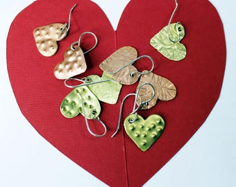 Heart Earrings Brass or Copper