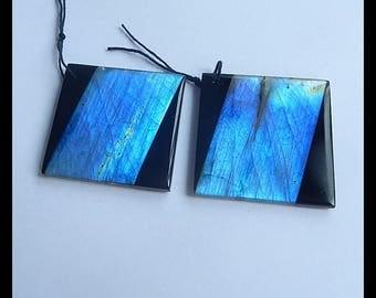 New,Labradorite,Obsidian Intarsia Gemstone Earring Bead,48x48x5mm,28.8g