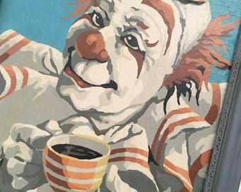 Paint by Number Clown, PBN Clown, Boys Room Decor, Kitchen Decor, Retro Kitchen Decor, Coffee Decor