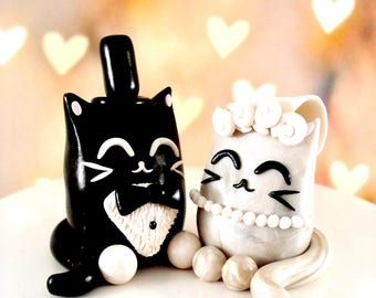 Kitty Cake Topper Cat Wedding Cake Toppers Black and White Wedding Decor Bride and Groom Cat Cake Toppers