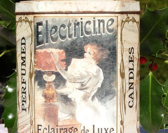 Vintage ELECTRICINE Tin Metal Box - Collectible - 1920s Style Decor - Kitcken Decor - Winter Vintage Finds - Retro Kitchen Decor - Metal Box