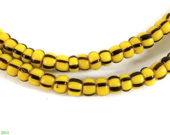 2 Strands Seed Trade Beads Yellow Striped Africa 89883