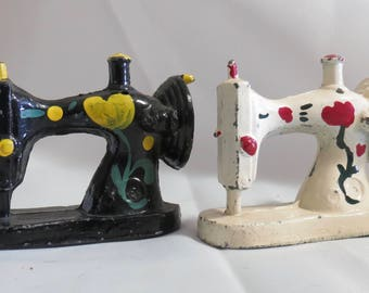 Vintage Cast Iron Sewing Machine Salt and Pepper Shakers