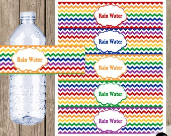 Rain Water rainbow water bottle labels, chevron rainbow water bottle labels, printable rainbow water bottle labels, INSTANT DOWNLOAD
