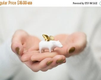 SALE Flying pig Piggy with gold wings, Ceramic miniature sculpture Porcelain figurine, sweet minature animal