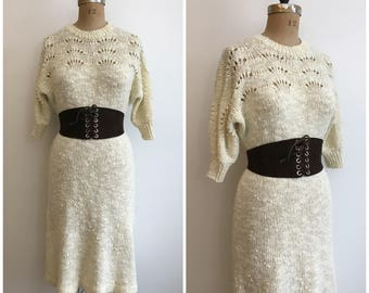 1970s 1980s Contessa Visconte Cream Sweater Dress 70s 80s Marisa Christina Dress