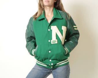 vintage GREEN mid-century LETTERMAN'S jacket coat leather & wool embroidered patch kelly green