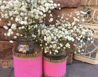 Mason Jar Wrap, Pink & White Dots, Mason Jar Decoration, Baby Shower, Party, Wedding Decoration