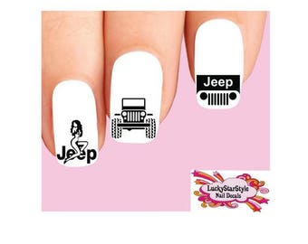Waterslide Nail Decals Set of 20 - Jeep Off Road Assorted