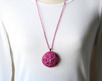 Medallion Magenta Artisan Tatting Lace Long Fiber Lightweight Pendant Necklace