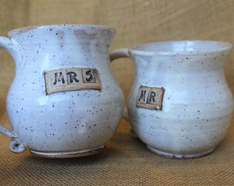 Mr. and Mrs. large wheel thrown stoneware mugs, wedding gift mugs