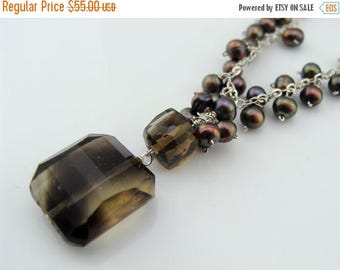 Smoky Quartz Brown Freshwater Pearl Sterling Silver Necklace