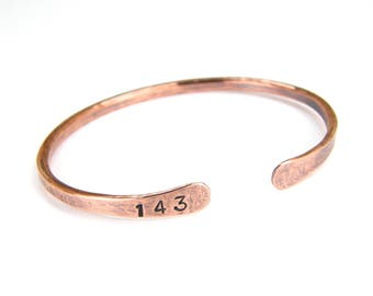 143 Antiqued Copper Bracelet, Hand Stamped Copper Bracelet, 8-Gauge Made To Order, Mens or Womens