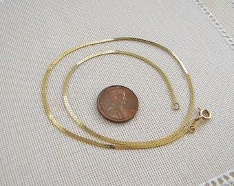 Italian 14K Gold Herringbone Chain Choker Necklace, 15 inches