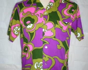 Pop Art Psychedelic Tohki Hawaii Hawaiian Shirt 1960s/70s