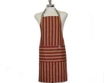 Deep Red Strips Cotton Man's Full Apron