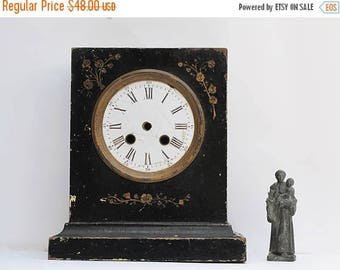 Antique French vintage ceramic and wood Clock Mantel , shabby chic Home Decor,Victorian Home Decor, French Chateau