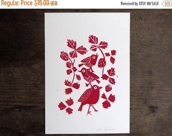 Kids Room Art,Bird Print,Black and White Nursery Prints, Scandinavian Art, Minimal Art, Linocut Print, Lino Print, Bird Art, Nursery Art  -