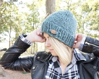 Blue Chunky Slouchy Beanie, Unisex Winter Accessories