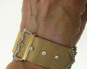 ANTIQUE BUCKLE BRACELET~Diamond Buckle Bracelet 18k Yellow Gold & Platinum1930's