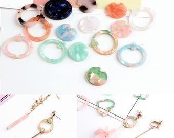 10 pcs Resin Round Ring/Flat Round Pendants 8 colors