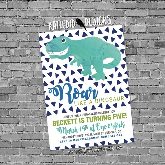 little boy 1st birthday dinosaur dino roar coed party invite brother sister twins shower diaper wipe Triangle confetti 2001 Katiedid Designs