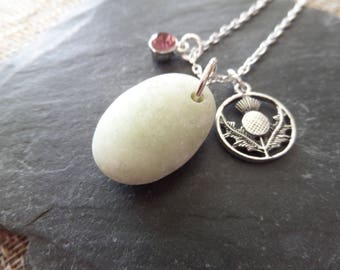 Thistle Necklace with Scottish Iona Marble, Healing Stone from Scotland with Purple Crystal February Birthstone