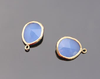 Jewelry Making Supplies, Gold Ice Blue Teardrop Crystal Pendant, Light Blue Glass Stone connector, Gemstone Bead Pendant, 2 pc, JW8227