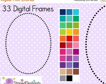40% OFF SALE Dotty Oval Digital Borders - Clip Art Frames - Instant Download - Commercial Use