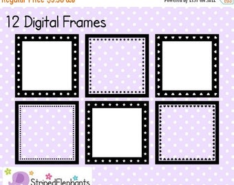 40% OFF SALE Square Digital Frame Collection 2 - Clipart Frames - Instant Download - Commercial Use