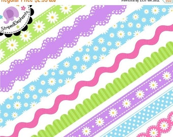 40% OFF SALE Daisy Digital Ribbons - Clip Art Border - Instant Download - Commercial Use