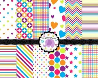 40% OFF SALE Rainbow Digital Paper Pack, digital scrapbook paper, bright digital paper, clipart paper, Instant Download, Commercial Use