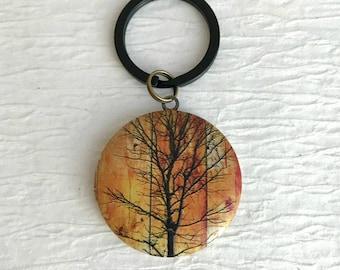 Tree in Sunset Locket Keychain,  modern locket key chain, photo locket, birthday gift , teacher gift, unisex locket keychain